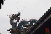 Taiwan 2012 - Taipei - Longshan Tempel - Dachrelief - Drache blau